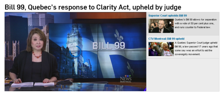 Bill 99, Quebec's response to Clarity Act, upheld by Judge (Mutsumi Takahashi reports)